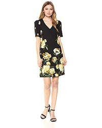 Adrianna Papell Cherry Blossom Lattice Printed Burnout Dress - Black
