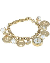 Anne Klein Ak/3356chrm Swarovski Crystal Accented Gold-tone Charm Bracelet Watch - Metallic