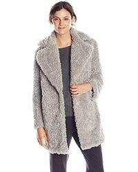 Kensie Notch-collar Faux-fur Coat - Gray