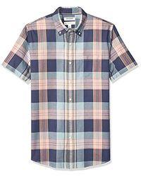 Goodthreads Amazon Brand - Standard-fit Short-sleeve Lightweight Madras Plaid Shirt - Blue