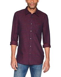 French Connection - Long Sleeve Flannel Stripe Button Down Shirt - Lyst