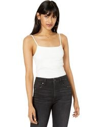 The Drop Cara Square Neck Cropped Strappy Tank Top - White