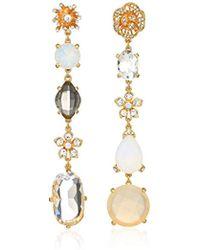 Badgley Mischka - Asymmetrical Champagne Crystal Linear Gold Drop Earrings, One Size - Lyst