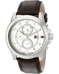 Tommy Hilfiger 1710294 Stainless Steel Watch With Brown Leather Band - White