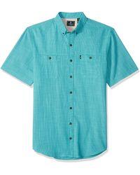 G.H.BASS Tall Crosshatch Short Sleeve Button Down Solid Shirt - Blue