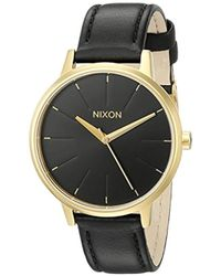 fa447feaa Nixon Hello, New Old Friend Kensington Leather Gold & Black Watch in  Metallic - Lyst