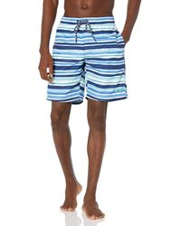 Izod Standard Printed Swim Trunks With Mesh Lining - Blue