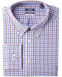 Izod Dress Shirt Regular Fit Stretch Button Down Collar Check - Blue