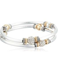 Nine West Tri-tone And Crystal Set Of 2 Bangle Bracelet - Metallic