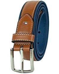 Tommy Hilfiger Tommy Hilfigher Ribbon Inlay Belt - Ribbon Fabric Design With Single Prong Buckle - Blue