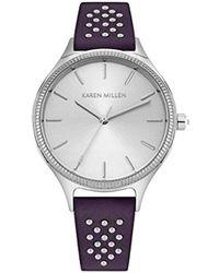 Karen Millen - Quartz Brass And Leather Watch, Color:grey (model: Km175v) - Lyst