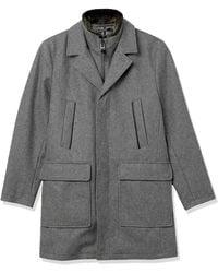Cole Haan Pressed Wool Melton Topper With Self Bib Faux Fur Collar - Gray