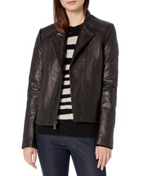 T Tahari Kirsten Fitted Leather Jacket - Black