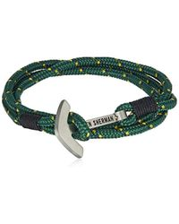 Ben Sherman - Stainless Steel Anchor Cord Wrap Bracelet, Color: Green - Lyst