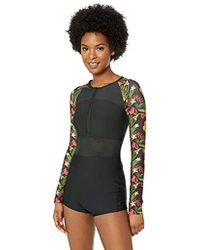 Hurley Quick Dry One Piece Bathing Suit Wetsuit Swimsuit - Black
