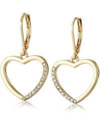 "T Tahari ""essentials"" Gold Heart Charm Drop Earrings - Metallic"