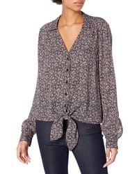 Parker Long Sleeve Collar Blouse With Buttons And Front Tie - Gray