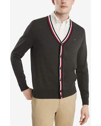 Tommy Hilfiger Cotton Cardigan Sweater - Gray