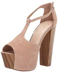 1b4ad9561528 Lyst - Jessica Simpson Dany T-Strap Platform Sandals in White