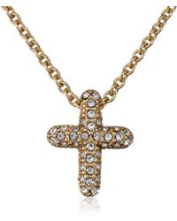 "Judith Jack ""golden Class Sterling Silver And Gold-tone Crystal Marcasite Reversible Cross Pendant Necklace - Metallic"
