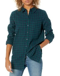 Goodthreads Brushed Flannel Boyfriend Tunic button-down-shirts - Bleu