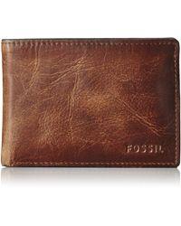 Fossil Derrick Leather Front Pocket Bifold Wallet - Brown