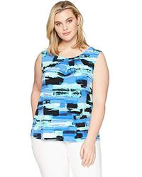 Kasper Size Plus Brush Stroke Topstich Ity Pleat Neck Cami - Blue