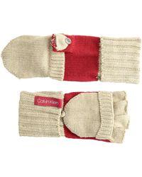 Calvin Klein Ft 2tone Knit Glove - Red