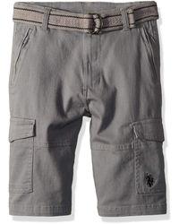 Boys Belted Chambray Cargo Short U.S Polo Assn