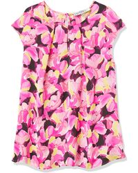 Kasper Cap Sleeve Spring Bouquet Printed Silky Satin Keyhole Cami - Pink