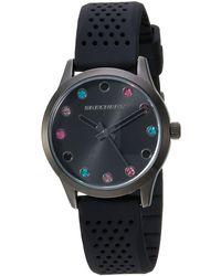 Skechers Stripe Texture Silicone Quartz Watch With Strap, Black, 18 (model: Sr6086)