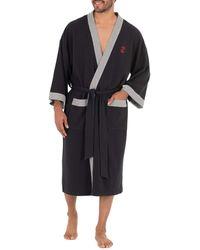 Izod Waffle Knit Kimono Robe - Black
