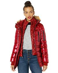 Guess Hooded Liquid Cire Puffer With Removable Faux Fur Trim - Red