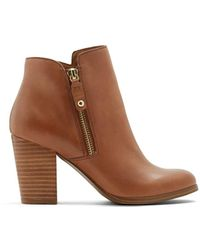 ALDO Casual Ankle Boots with Block Heels - Marron