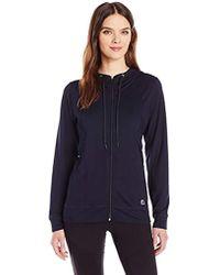 Anne Klein Long Sleeve Zip Frnt Hoodie W/mesh Insert - Blue