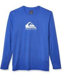 Quiksilver Solid Streak Ls Long Sleeve Rashguard Surf Shirt - Blue
