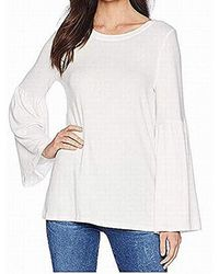 Kensie Plush Touch Bell Sleeve Sweater - White