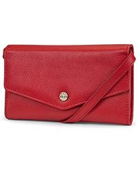 Timberland S Rfid Leather Wallet Phone Bag With Detachable Crossbody Strap - Red