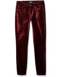 PAIGE Verdugo Velvet Mid Rise Ultra Skinny Pant - Red