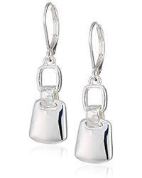 Nine West - Silver-tone Dbl Drop Hoop Earrings, Size 0 - Lyst