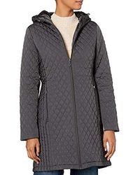 BCBGeneration 3/4 Hooded Front Zip Quilted Coat - Gray
