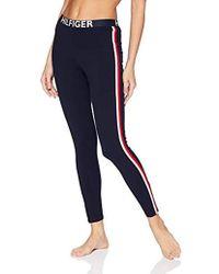 Tommy Hilfiger Retro Style Hilfiger Logo Graphic Leggings Pant Lounge Pj - Blue