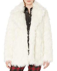 Vince Camuto Shaggy Fur Coat - White