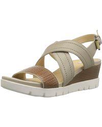 Geox Mary Karmen Plus 1 Wedge Sandal - Natural