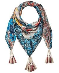 Johnny Was - Patterned Silk Square Scarf With Tassels - Lyst