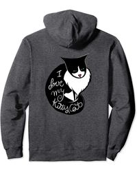 Caterpillar I Love My Tuxie Fun Tuxedo Cat Pullover Hoodie - Gray