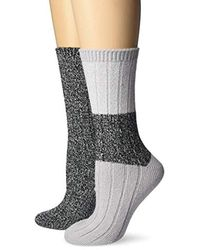 Steve Madden 2pk Marled Colorblock Boot Socks Sm45550 - Gray