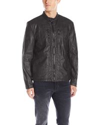 Kenneth Cole Distressed Leather Jacket With Faux Sherpa Lining - Black