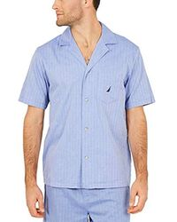 Nautica - Short Sleeve 100% Cotton Soft Woven Button Down Pajama Top - Lyst
