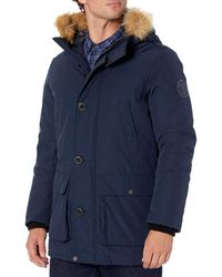 Tommy Hilfiger Ultra Loft Insulated Arctic Cloth Snorkel With Removable Faux Fur Hood - Blue